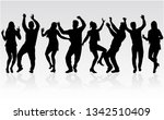 dancing people silhouettes.... | Shutterstock .eps vector #1342510409