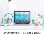 computer staying on a table  ... | Shutterstock . vector #1342511000