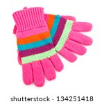 Striped Gloves Isolated On White