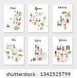 big set of illustrated maps of... | Shutterstock .eps vector #1342525799