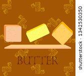 vector yellow stick of butter.... | Shutterstock .eps vector #1342530350