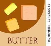vector yellow stick of butter.... | Shutterstock .eps vector #1342530353