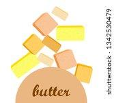 vector yellow stick of butter.... | Shutterstock .eps vector #1342530479