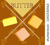 vector yellow stick of butter.... | Shutterstock .eps vector #1342530563