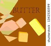 vector yellow stick of butter.... | Shutterstock .eps vector #1342530599