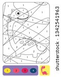 cute dino coloring page for... | Shutterstock .eps vector #1342541963