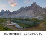 mountain range and glacial lake ...   Shutterstock . vector #1342547750