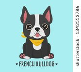 Stock vector vector icon puppy dog breed french bulldog pet black color in a yellow scarf illustration 1342553786