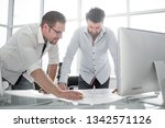 two architect working with... | Shutterstock . vector #1342571126