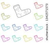 sock multi color icon. simple... | Shutterstock .eps vector #1342571573
