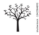 black tree with leaves on white ... | Shutterstock .eps vector #1342584893