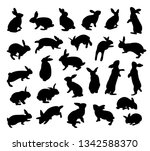 Stock vector silhouette rabbit set animal flat icon vector illustration isolated on white background 1342588370