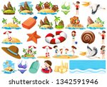 set of summer beach collection... | Shutterstock .eps vector #1342591946