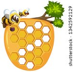 isolated beehive on white... | Shutterstock .eps vector #1342592129