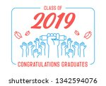 graduation day. class of 2019... | Shutterstock .eps vector #1342594076