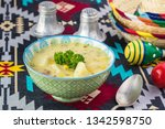 bowl with fiesta ham soup on a... | Shutterstock . vector #1342598750