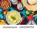 bowl with fiesta ham soup on a... | Shutterstock . vector #1342598753