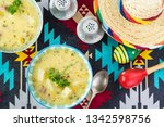 bowls with fiesta ham soup on a ... | Shutterstock . vector #1342598756