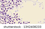 spring ivy and vines in purple... | Shutterstock .eps vector #1342608233