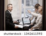 financial partners discussing a ... | Shutterstock . vector #1342611593