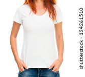white t shirt on a girl with... | Shutterstock . vector #134261510