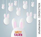 easter poster. hanging eggs on... | Shutterstock .eps vector #1342617626