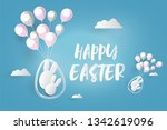 happy easter card with bunny ... | Shutterstock .eps vector #1342619096