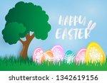 easter poster. easter theme... | Shutterstock .eps vector #1342619156