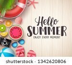 hello summer vector background. ... | Shutterstock .eps vector #1342620806