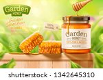 garden honey ads with dipper... | Shutterstock .eps vector #1342645310