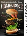 hamburger poster design on... | Shutterstock .eps vector #1342650263
