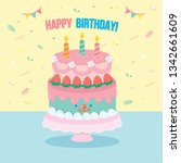 happy birthday greeting card.... | Shutterstock .eps vector #1342661609