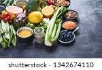 healthy organic food on dark... | Shutterstock . vector #1342674110
