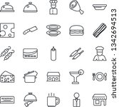 thin line icon set   coffee... | Shutterstock .eps vector #1342694513
