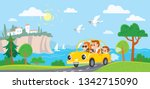 family  in a car  goes on... | Shutterstock .eps vector #1342715090