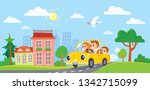 family  in a car  goes on... | Shutterstock .eps vector #1342715099