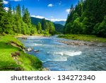 landscape with mountains, forest and a river in front. beautiful scenery - stock photo