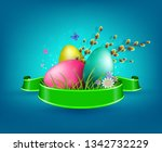 blue composition with easter... | Shutterstock .eps vector #1342732229