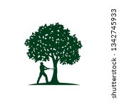 A Man Cutting Tree Illustratio...