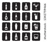alcohol icons. grunge black... | Shutterstock .eps vector #1342759466