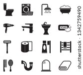 toilet and bathroom icons.... | Shutterstock .eps vector #1342759490