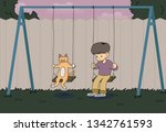 a boy is sitting on a... | Shutterstock .eps vector #1342761593