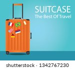 orange suitcase for travel and  ... | Shutterstock .eps vector #1342767230