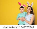 mother and son in easter bunny... | Shutterstock . vector #1342787849