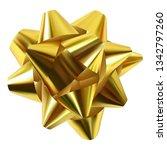 golden ribbon gift bow isolated ... | Shutterstock .eps vector #1342797260