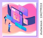 isometric colorful concept man... | Shutterstock .eps vector #1342799213
