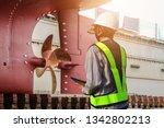 shipyard stern ship propeller ...   Shutterstock . vector #1342802213