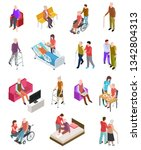 elderly people isometric.... | Shutterstock .eps vector #1342804313