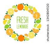 cute citrus fruits lemon  lime... | Shutterstock .eps vector #1342804520