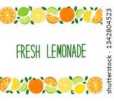 cute citrus fruits lemon  lime... | Shutterstock .eps vector #1342804523